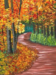 Fall Canvas Painting, Acrylic Painting Lessons, Acrylic Painting Tutorials, Autumn Painting, Autumn Art, Autumn Trees, Acrylic Art, Painting Techniques, Canvas Art