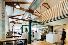 Timber Slatted Mezzanine as Highlight for Code Black Cafe in Melbourne - http://freshome.com/timber-slatted-mezzanine-highlight-for-code-black-cafe-in-melbourne/