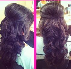 Inspiration+discovered+by+Alexandra.+#curls+#halfupdo+#brunette+@bloomdotcom