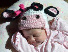 Crochet cow hat  newborn by SweetBabiesinYarn on Etsy, $25.00
