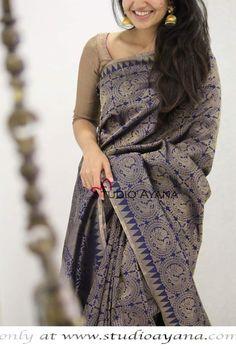 Pattu Saree Blouse Designs, Saree Blouse Patterns, Indian Silk Sarees, Indian Beauty Saree, Saree Jewellery, Saree Models, Elegant Saree, Traditional Fashion, Saree Dress