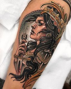 Neo traditional tattoo by Marty Early - Tattoo MAG Traditional Tattoo Woman Face, Traditional Tattoo Animals, Neo Traditional Art, Traditional Tattoo Design, Traditional Tattoos, American Traditional, Traditional Tattoo Portrait, Neotraditionelles Tattoo, Body Art Tattoos