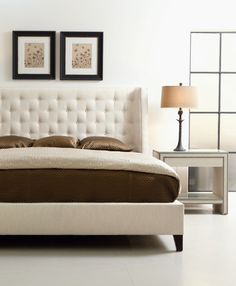 this is the bed--but it will be in the textured black/brown fabric    Bernhardt | Maxime Platform Wing Bed (King) (323-H66, 323-FR66)