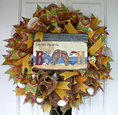 Flip Flop Wreath XL Wreath Beach Wreath Spring Wreath by MeMaandCo