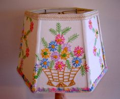 Vintage Linen Embroidered Floral Lamp Shade ---- Shabby Chic -  Pink- Greens- Blues