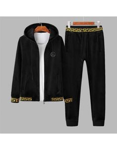 Versace Tracksuits For Men Versace Bedding, Gucci Mens Sneakers, Versace Shirts, Versace Fashion, Collar Styles, Casual Shoes, Zip Ups, Track, Sweatpants