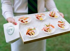 Wedding Food Ideas: 11 Questions to Ask Your Caterer Before You Book (Captured by Gayle Brooker via Grey Likes Weddings) Monogrammed Napkins, Linen Napkins, Brunch, Shell, Food Stations, Hors D'oeuvres, Wedding Catering, Appetizers For Party, Creative Food