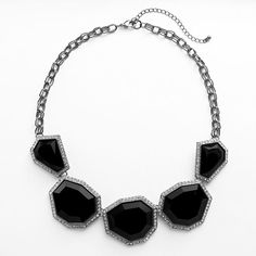 Jet simulated crystal bib statement necklace
