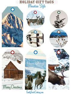 Mountain Style ~ Free Printable Holiday Gift Tags | FamilyFreshCooking.com