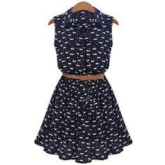 Lapel Cat Print Shirt Dress ($15) ❤ liked on Polyvore featuring dresses, short dresses, blue shirt dress, t-shirt dresses, a line summer dress and blue dress