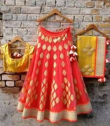 Buy Orange and golden net embroidered unstitched bridal lehengas bridal-lehenga online