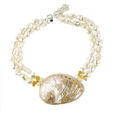 "Meg Carter Designs ""Curtain Bluff"" Necklace in Citrine Shell Jewelry, Beach Jewelry, Jewelry Necklaces, Jewellery, Jewelry For Her, Jewelry Making, Shell Pendant, Jewelry Organization, Jewelry Stores"