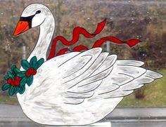 WICOART WINDOW COLOR STICKER STATIC CLING NOEL CHRISTMAS SWAN CYGNE HIVER