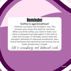 ⚠️The common symptom of feeling anxious or shaky/jittery after drinking coffee is from a lack of nutrients, which causes low blood sugar. ⚠️It should not be consumed first thing in the morning on an empty stomach. Glucose levels are low because you have been sleeping and haven't eaten in 12 hours. So eat food before you drink coffee and add some calories to it. Nutrition Tips, Diet Tips, Coffee Drinks, Drinking Coffee, Polycystic Ovarian Syndrome, Low Blood Sugar, Glucose Levels, Pcos Diet, Cortisol