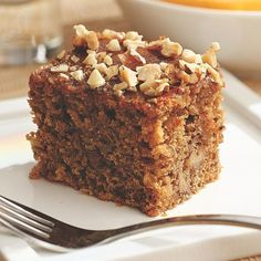Greek Walnut Spice Cake A rich, flavorful syrup infuses this Mediterranean-inspired walnut coffee cake with the bright aroma of oranges and cloves. Heart-healthy olive oil and whole-grain barley flour add subtle complexity and texture to this nutty treat. Spice Cake Recipes, Baking Recipes, Dessert Recipes, Brunch Recipes, Coffee Recipes, Bread Recipes, Breakfast Recipes, Food Cakes, Cupcake Cakes