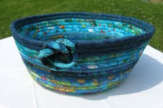 Wrapped Fabric Bowl     This week I learned how to make fabric bowls, so I decided to take the few aqua/turquoise scraps that I had left, ...