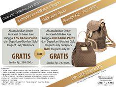Promo Oriflame Juni | Giordani Gold Elegant Lady Bagpack and Tote Bag