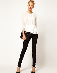 6262214626 PETITE Exclusive Sheer Top With Peplum And 3 4 Length Sleeves