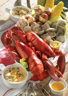 OMG this is my Favorite meal of all time I can not wait for summer and Lobster & Clam Bakes