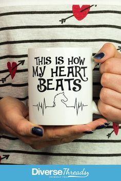 Horse Heartbeat Mug / Cup. If this is how your heart beats this mug is perfect for you. Available here - https://diversethreads.com/products/horse-heartbeat-mug