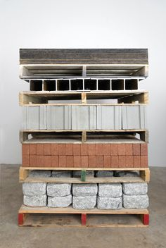 Charles Harlan - Pallets, 2012 wood, stone, brick, cement block, steel, masonite 60 x 40 x 48 inches