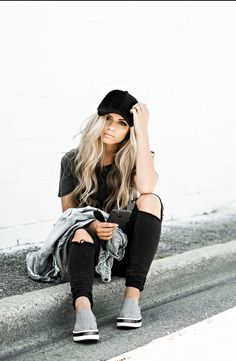 Saturday Vibes. Casual Outfit. Platform shoes. Distressed denim jacket, baseball cap, tee. Blonde. Beach Waves.