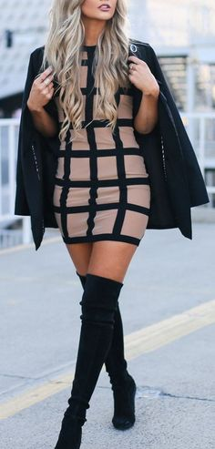 #fall #outfits / bodycon dress + coat