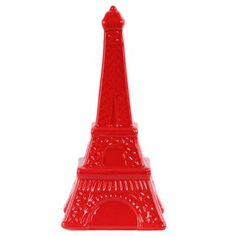 "Urban Trends Ceramic Eiffel Tower Figurine Size: 11"" H x 5"" W x 5"" D, Color: Red"