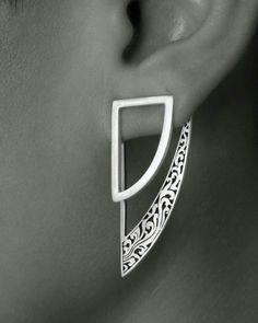 RATU EAR JACKETS | AVAILABLE ON WWW.DVIBHUMI.COM STERLING SILVER STATEMENT EARRINGS | GEOMETRIC EARRINGS | DETAIL #earringjackets