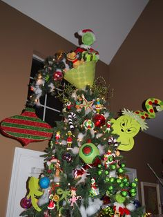 whoville tree topper | Grinch Tree Topper....upside down lampshade ... | holiday party ideas ...