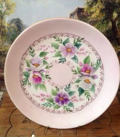 Pink Limoges Hand painted Butter plate with gold by AntiqStreet, £15.00