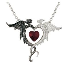 The power of divergence!     This beautiful pendant presents the sign of dualism of the heart.  With the joining of demonical and heavenly love arises, which is symbolised by a red, cut crystal heart....