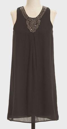 Black Embellished-Neck Shift Dress