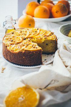 Orange cake with semolina and pine nuts