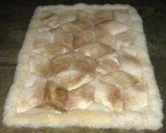 White and beige alpaca fur rug from Peru
