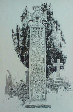 Ruskin's cross, Coniston Churchyard, English Lake District, original drawing by Karl Stedman, kstedmanart@aol.com