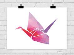 """Neue Kleider braucht die Wand! ♕ *Lieblingsdrucke* aus der Hauptstadt suchen Freifläche zur Entfaltung! ♕ Der Kunstdruck +""""Origami Kranich""""+ ist erhältlich in den *Größen*: *DIN A4* (21,0 x..."""