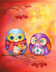Owls with Pumpkin Pie by Annya Kai
