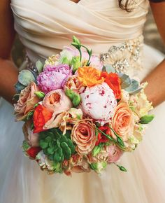 Bright Bridal Bouquet // Photo: Christina Carroll Photography // Event Design: The Simplifiers // Featured: The Knot Blog