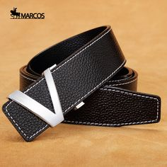 2c0b9ae22a6 Aliexpress.com   Buy Hot H style luxury brand designe Letter V head layer leather  belt buckle all match Marcos smooth trend Casual belts for men from ...