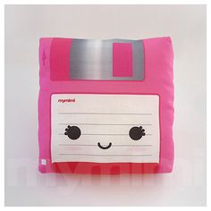 Decorative Pillow Mini Pillow  Floppy Disk Pink by mymimi on Etsy, $18.00