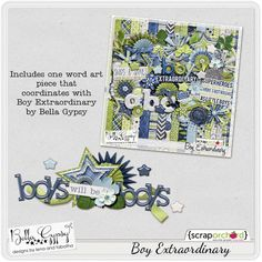 A super cute *FREE* cluster that coordinates with Boy Extraordinary Scrapbooking kit by Bella Gypsy Designs at Scrap Orchard.