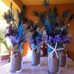 Peacock Beach Wedding Centerpieces