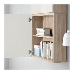 BESTÅ Wall cabinet with 2 doors - walnut effect light gray/Selsviken…