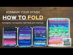 KonMari Your Stash! How to fold your entire stash … fat quarters, yards, garment fabric & more … – Quilt Addicts Anonymous Sewing Room Organization, Craft Room Storage, Fabric Storage, Fabric Organizer, Ribbon Storage, Studio Organization, Craft Rooms, Quilting Room, Quilting Tips