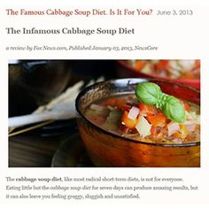 Have you heard about the Infamous Cabbage Soup Diet?