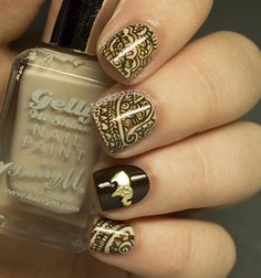 Henna nail art... based upon the Mehndi patterns traditionally associated with Hindu weddings.