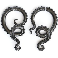 Black Shiny Octopus Fake Gauges or Octopus Ear Plugs, Shiny Earrings Fake Gauges, Tentacle Gauge or Octopus Gauge
