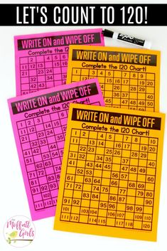 Write on and Wipe off Up to This fun Grade Math activity helps students count numbers up to 120 in a hands-on way! First Grade Activities, 1st Grade Math, Math Activities, Grade 1, Math Numbers, Writing Numbers, Math Stations, Math Centers, Math Skills