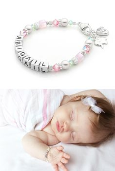 Baby girl gift baby name bracelet sterling silver first cotton candy cuteness baby name bracelet precious little keepsake gift for the little angel in negle